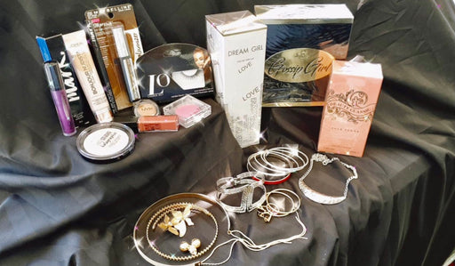 Teen girls are young women mystery box full of make up and jewelry and perfume