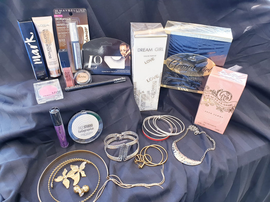 Teen girls and young women mystery box full of make up and jewelry and perfume