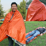 Emergency sleeping bag shelter from wind and rain