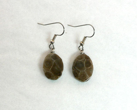 Petoskey Stone Oval Earrings