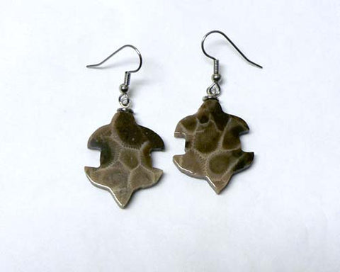 Petoskey Stone Turtle Earrings