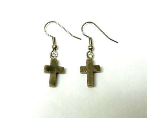 Petoskey Stone Cross Earrings
