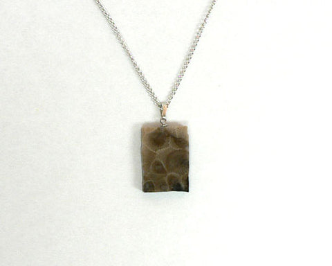 Petoskey Stone Rectangle Pendant