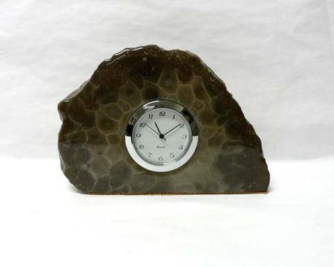 Petoskey Stone Small Mini Quartz Clock