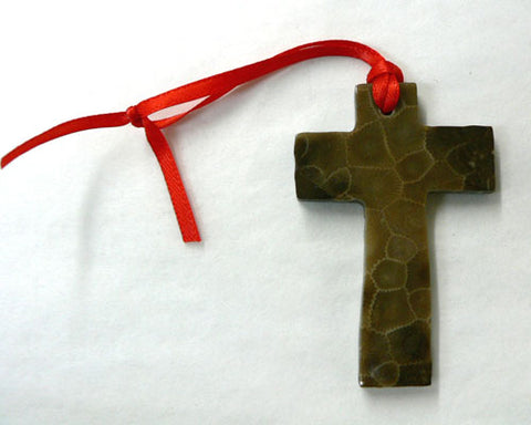 Petoskey Stone Cross Ornamnet
