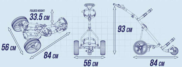 Schematics Image with Secifications of PowerBug GT Tour Lithium Golf Trolley
