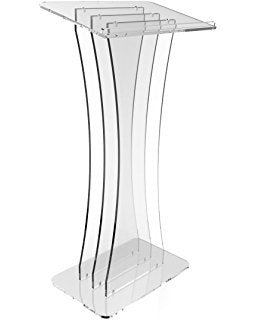 Clear Acrylic Lectern Podium - Hour Glass Shaped