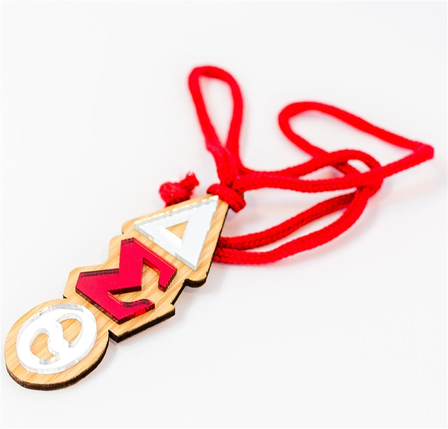 Delta Lettered Necklace / Rearview Mirror Hang - Delta Sigma Theta