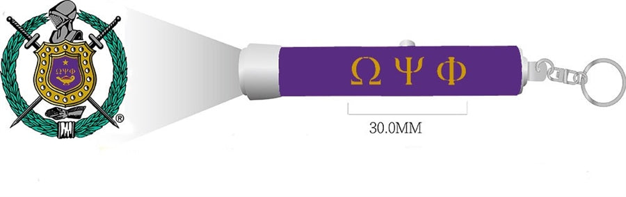 Omega Psi Phi Torch Light Keychain