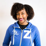 Zeta Sueded Full Zip Hooded Jacket - Zeta Phi Beta