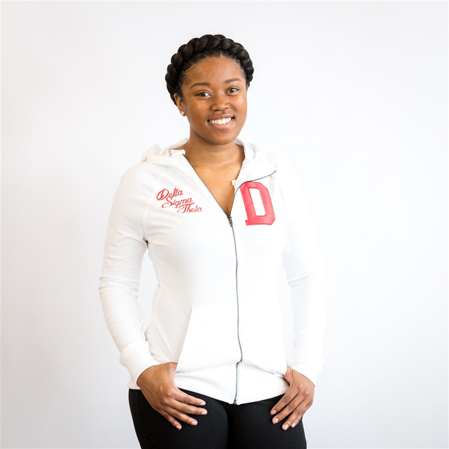 Delta Sueded Full Zip Hooded Jacket - Delta Sigma Theta