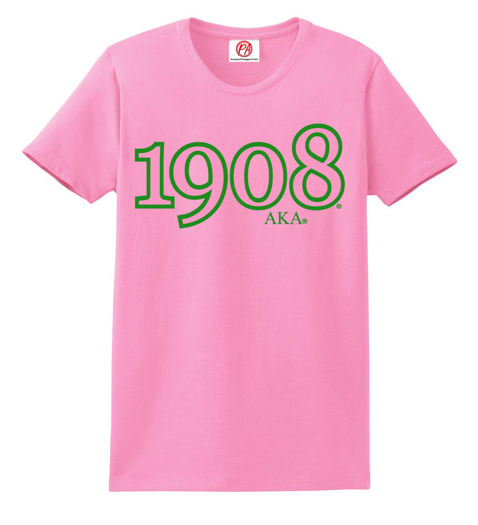 Alpha Kappa Alpha Founding Year 1908 Embroidered T-Shirt