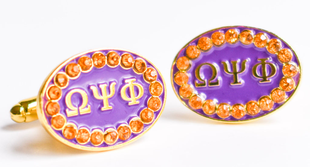 Omega Psi Phi Crystal Cuff Links