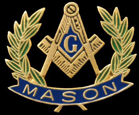 Mason Wreath Lapel Pin - Mason