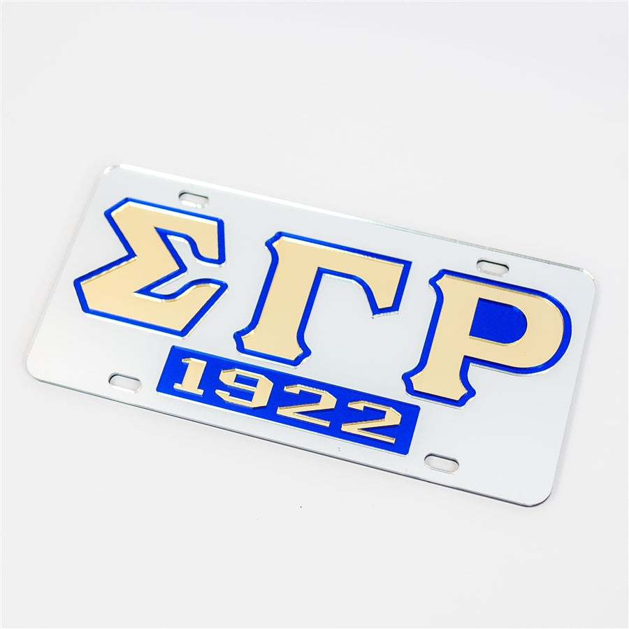 SGRho 1922 Mirrored License Plate -Sigma Gamma Rho