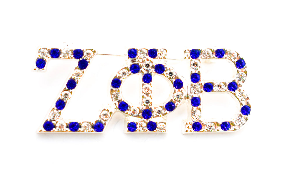 Zeta Phi Beta 3 Letter Crystal Lapel Pin