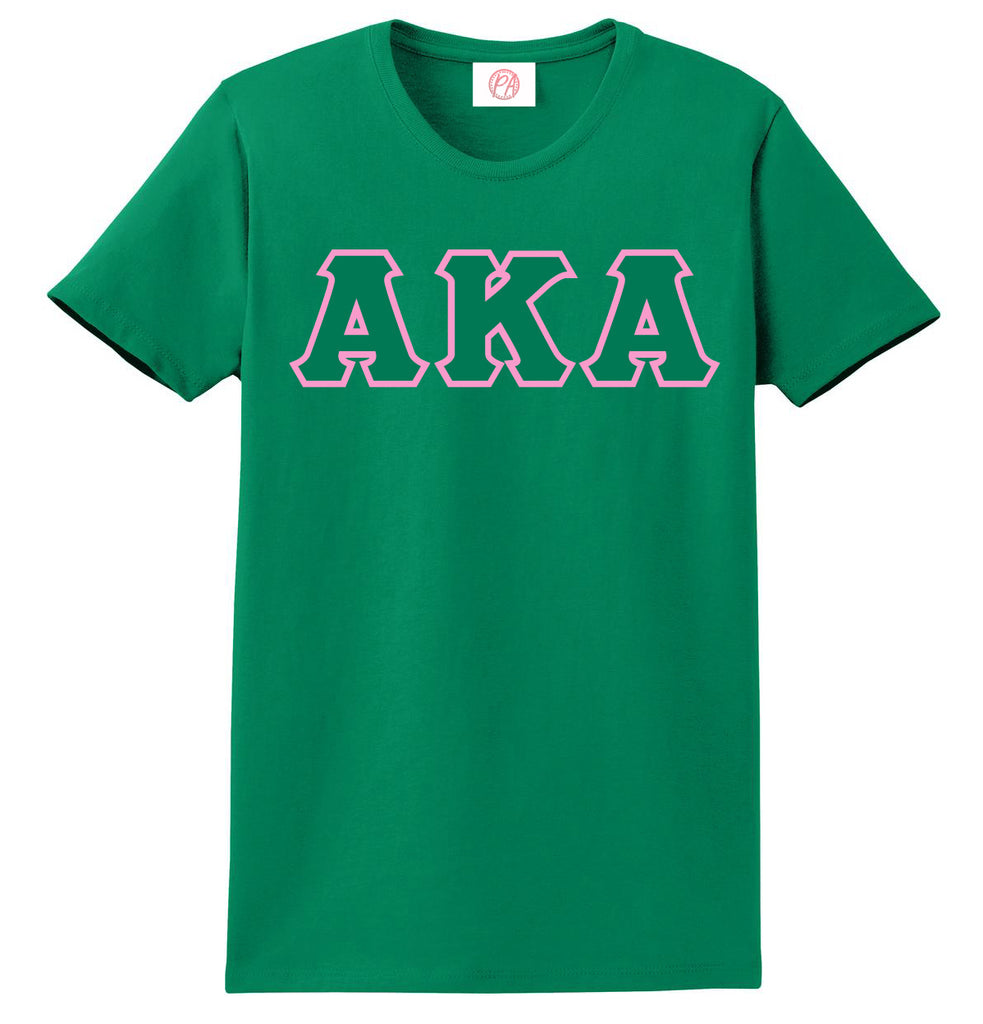 Alpha Kappa Alpha 3 Greek Lettered Embroidered T-Shirt