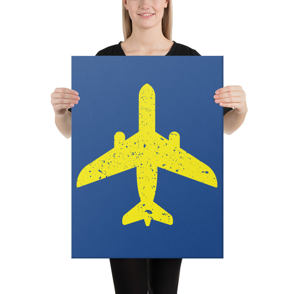 Yellow Aircraft on Blue Canvas