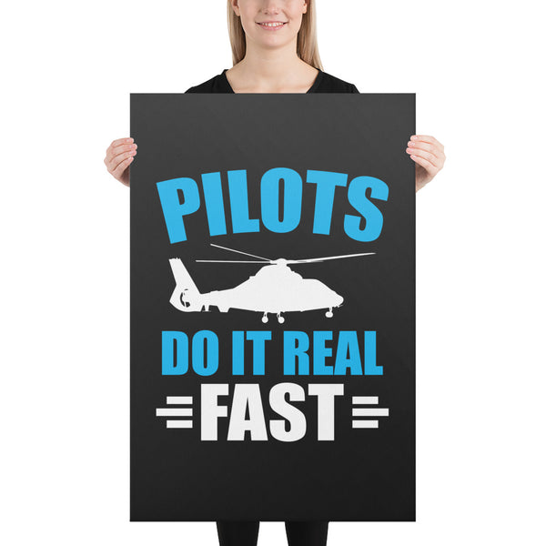 Pilots Do It Real Fast on Black Canvas