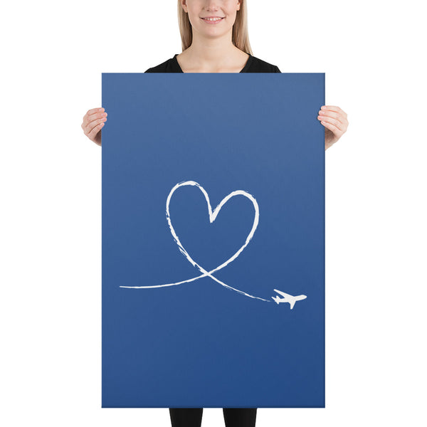 White Love To Fly on Blue Canvas