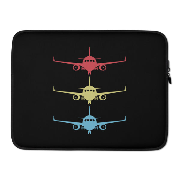 Stacked Aircraft (Black) Laptop Sleeve
