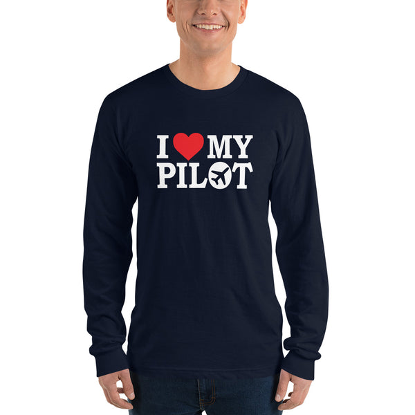 I Love My Pilot (dark) - Long Sleeve T-Shirt