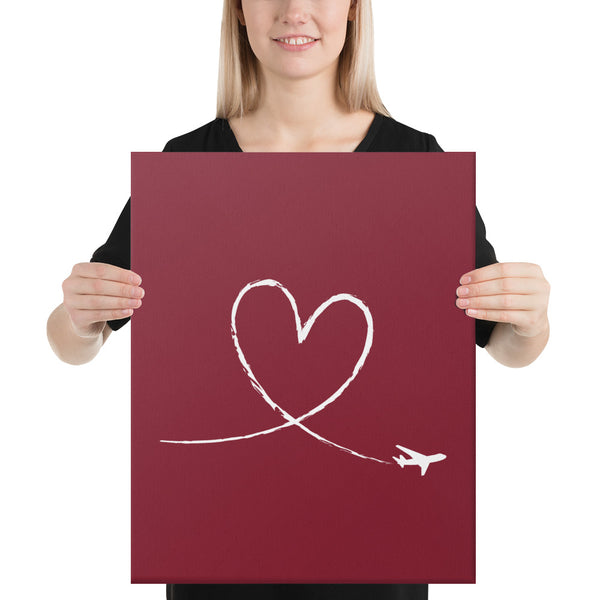 White Love To Fly on Dark Red Canvas