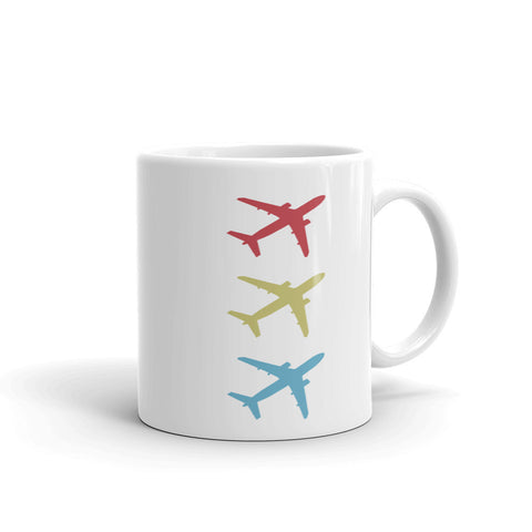 Stacked Aircraft Tea and Coffee Mug - Double-Sided White