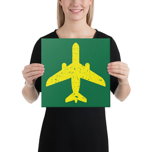Yellow Plane on Green Canvas