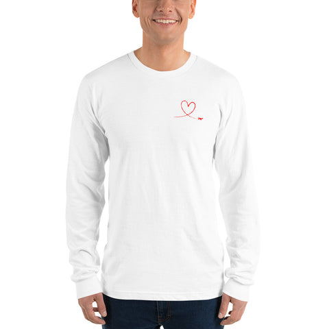 Love Heart Breast Red - Long Sleeve T-Shirt