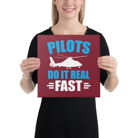 Pilots Do It Real Fast on Dark Red Canvas