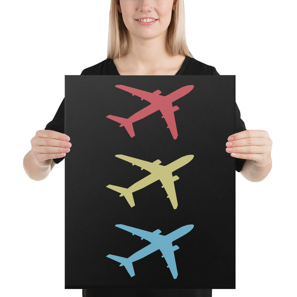 Stacked Flying Aircraft on Black Canvas