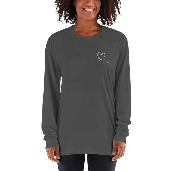 Love Heart Breast White - Long Sleeve T-Shirt