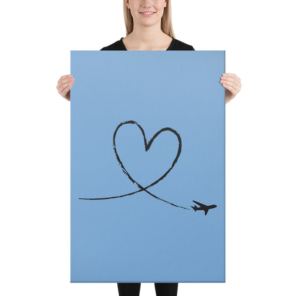 Black Love To Fly on Light Blue Canvas