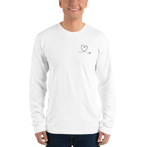 Love Heart Breast Black - Long Sleeve T-Shirt
