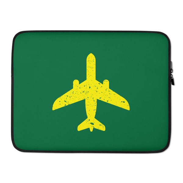 Yellow Plane (Green) Laptop Sleeve