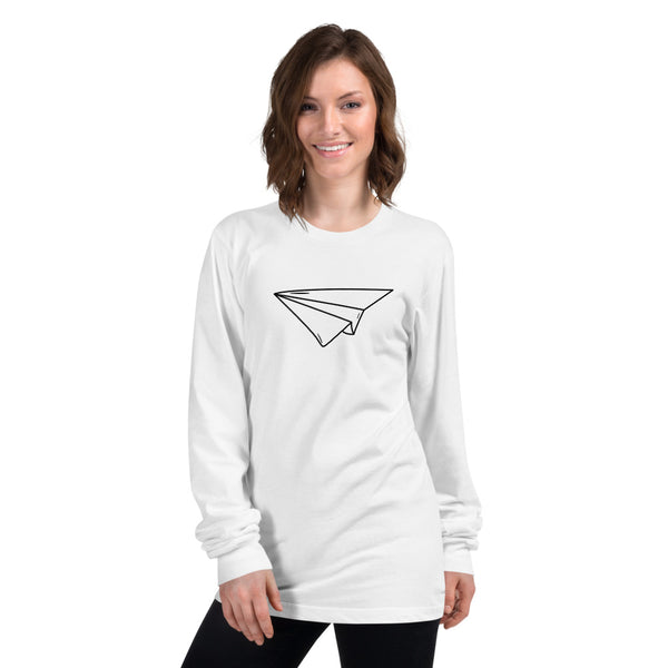 Paper Plane White Long sleeve t-shirt