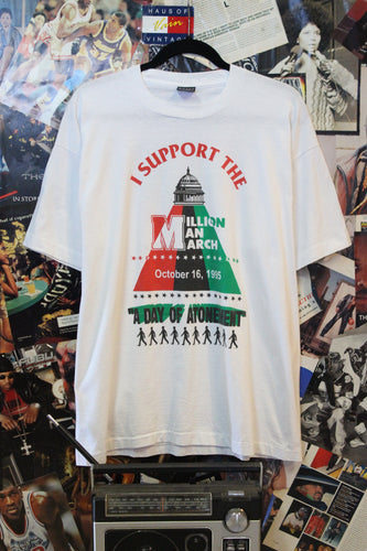 Vintage 1995 Million Man March Atonement Day White Tee size Large