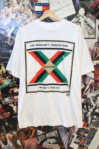 Vintage Malcolm X 'I'm Not A Racist' White Tee size XL