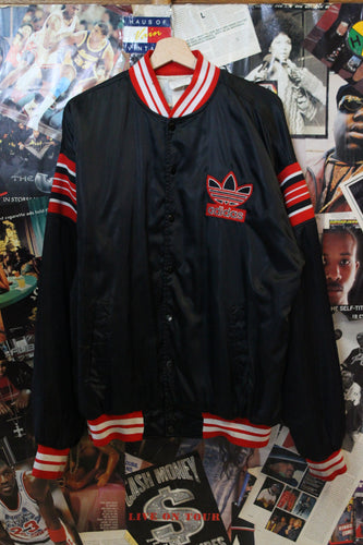 Vintage 1980s Adidas RUN DMC Era Trefoil Striped Varsity Jacket size XL