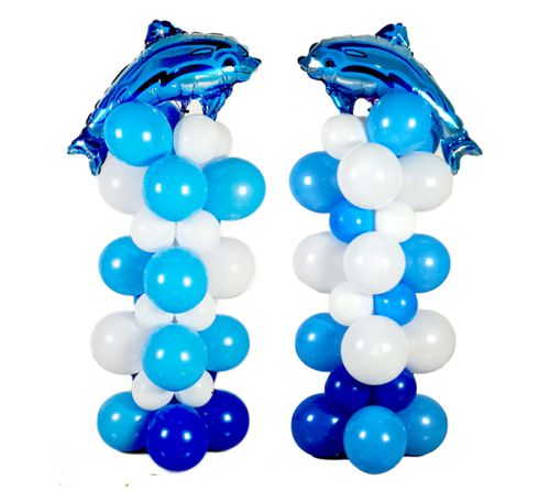 2 Set Blue Dolphin Balloon Column Stands