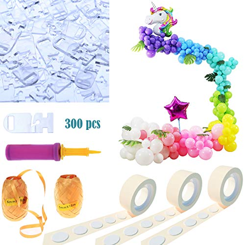 300 PCS  Balloon Ties Tying Tool, 32 Ft Ballon Decorating Strip Balloon Chain, 2 Rolls Glue Dots for Balloons and Balloon Flower Clips for Birthday Party Decoration(Basic – No Balloons)