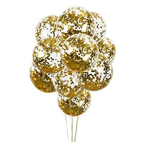 10 ct 18-in Clear Round Balloons with Gold Confetti