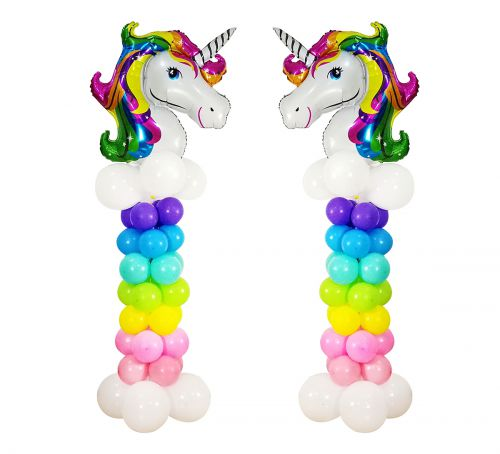 2 Set Rainbow Unicorn Balloon Column Stands