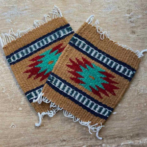 Zapotec Coasters Set of 2, Geo XVIII
