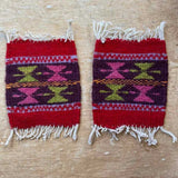 Red Geo Zapotec Coaster Southwest Wool Coaster Set Fair Trade Home Decor Picchu Bold