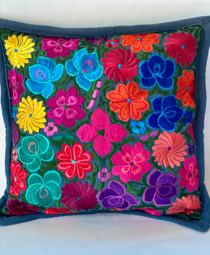 Mexican Embroidered Flowers Pillow Cover I