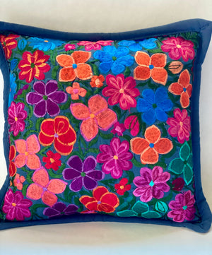 Mexican Embroidered Flowers Pillow Cover II