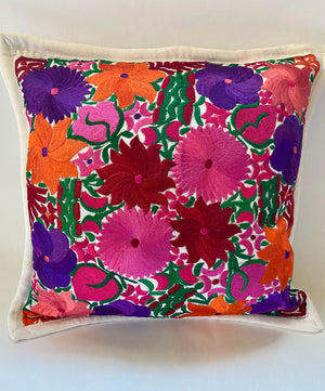 Mexican Embroidered Flowers Pillow Cover IV