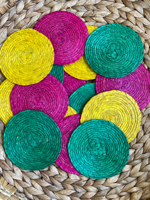 Palm Leaf Straw Coasters Set of 2